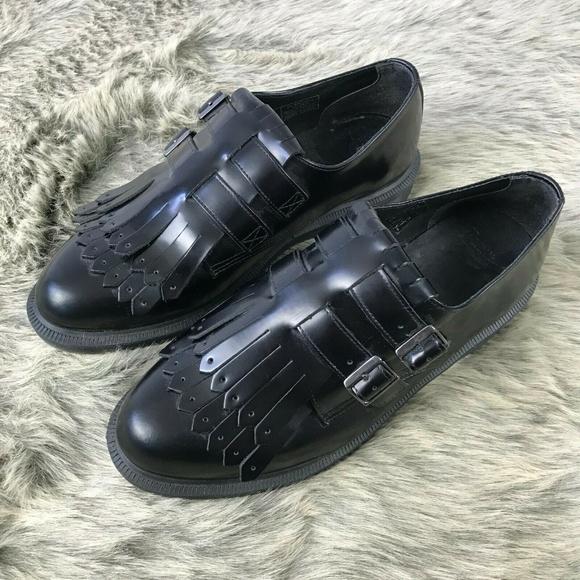 Dr. Martens Shoes - Dr. Martens Double Strap Black Leather Oxfords